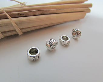 10 bead cord 7 x 4 mm antiqued silver - 4 mm hole - 116.34