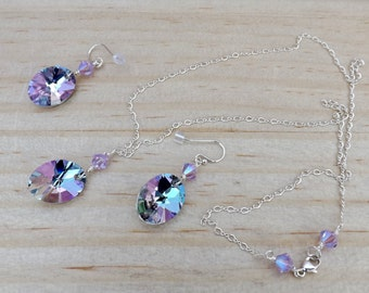 """20"""" sterling silver chain necklace and earring set with Swarovski crystals."""