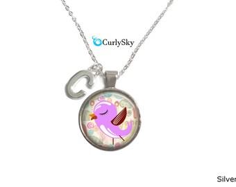 Lavender Bird Necklace Purple Lavender Pendant Pink Lavender Necklace Lavender Pink Necklace Bird Pendant lavender pink necklace Pendant
