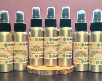 Chakra Starter Set with Misters / Mind Body and Spirit / Chakra Balance Oils / Energy Healing Spray