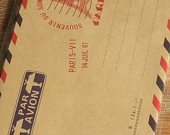 Vintage Style Brown Kraft Air Mail Envelopes - Paris, Set of 10