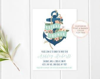 Bridal Shower Invitation, Nautical Bridal Shower, Nautical Bridal Shower Invites, Anchor, Nautical, Bridal Shower, Nautical Shower Invites