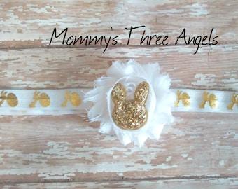 Gold Bunny Shabby Flower Elastic Headband/Gold and White Easter Bunny Elastic Headband MADE TO ORDER