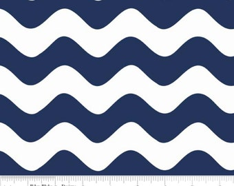 Wave In Color Navy-One Yard- Riley Blake