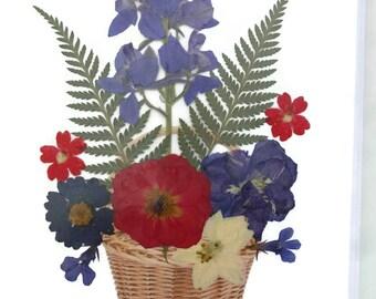 Basket of Flowers: 2 Real Pressed Flower cards