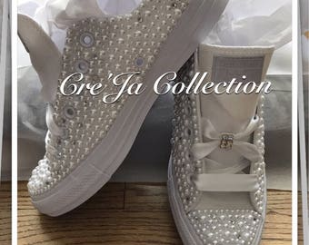 Wedding Converse, Bridal Converse, Pearl Converse, Bling Converse, Custom Converse, Monogram Converse, Wedding Chucks