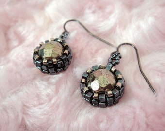 Beaded Pyrite Earrings