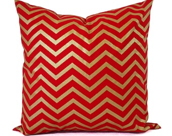 Two Red Pillow Covers - 16 x 16 Pillow 18 x 18 Pillow - Metallic Gold Pillow Sham - Decorative Pillow - Red Chevron Pillows - Holiday Decor