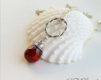 Red Garnet Necklace With Circle Sterling Silver Wire Wrapped Gemstone January Birthstone Simple Jewelry Birthday Mothers Day Gift For Her