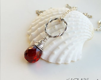 Red Garnet Pendant Necklace With Circle Sterling Silver Wire Wrapped Gemstone January Birthstone Simple Jewelry Birthday Gift For Her