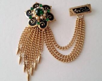 Gold tone Spanish lace enamel multichain brooch