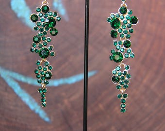 emerald green dangle earrings, rhinestone pageant earrings, red rhinestone earrings, blue prom earrings