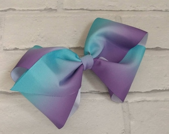 "Large 8"" Purple & Turquoise Ombre Boutique Hair Bow with alligator clip like JoJo Siwa Bows Dance Moms Signature Keeper Cheer"