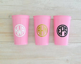 Monogrammed Cups, Bachelorette Party Cups, Bridesmaid Gift, Monogram Cups, 22oz Stadium Cups, Monogram Gift, Circle Monogram Party Cups