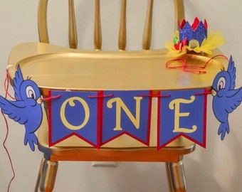 Snow White inspired, high chair banner, Snow White high chair banner, Snow White bird, Snow White bird ONE banner