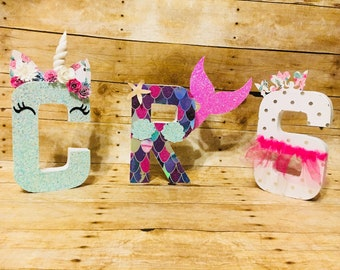 Unicorn/Mermaid Letters- Unicorn Party- Photo Prop- Centerpiece- Nameplate- Room Decor- Baby Shower- Birthday Party- Freestanding Letters