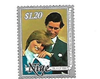 Prince Charles and Princess Diana Mint Postage Stamp from Niue