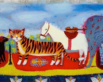 Musician Animal art print - limited edition giclee on paper - multi animal/instruments/iwhimsical/childrens decor