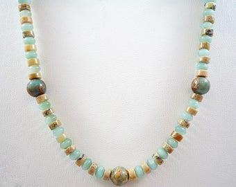 Aqua Terra Jasper Necklace Amazonite Necklace Gemstone Necklace Jasper Amazonite Feldspar Necklace Gemstone Bead Necklace Gemstone Strand