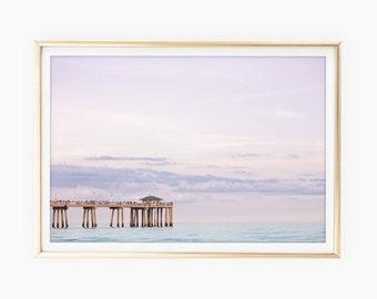 Ocean Prints, Beach Photography, Florida Art, Large Printable Poster, Printable Beach Wall Art, Coastal Print, Pastel Pink Blue, Pier Sunset