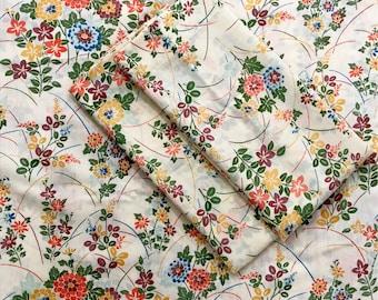 Vintage Thomaston Muslin Flat Sheet and Pillowcase Set // Floral Sheet Set // 1970's