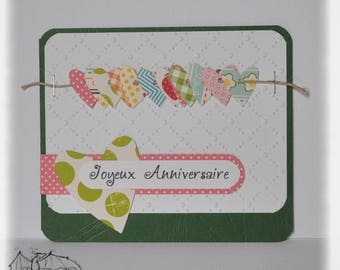 Birthday card, scrapbooking, with hearts
