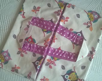 bag pie or quiche: owls and polka dots coated canvas