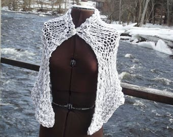 Cape wrap shawl chunky knit capelet for XS small medium women in white with black edged silvery ribbon yarn accent