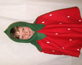 Kids'  Hooded Cape,  Fleece Poncho, Child Toddler Halloween Costume,  Strawberry Hooded Cloak