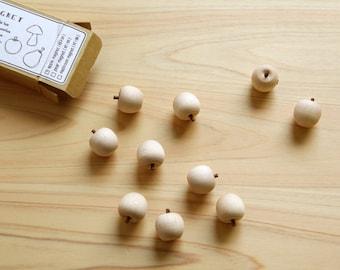 Wooden Magnets, Wood Magnets, Cute Fridge Magnets, Refrigerator Magnets, Kitchen Magnets, Office Magnets, Apple, Natural Color, Set of 10