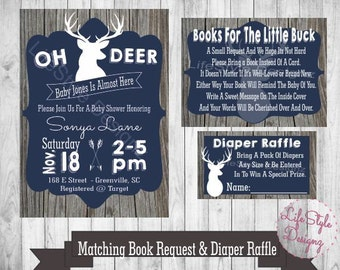 Oh Deer Baby Shower Invitation - Oh Deer- Navy Blue Baby Shower - Rustic Baby Shower - Baby Buck - Deer- Deer Baby Shower - Diaper Party