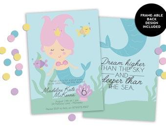 Dream Deep - Mermaid Birthday - Girls Birthday Invitation