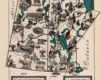 Vintage CANADA Picture Map Manitoba Map of Saskatchewan Map Print 1940s Pictorial Map Travel Map Gallery Wall Art Home Decor