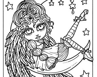 5 pages Gothic Angels Digital Coloring, adult coloring, clip art, digi stamp, digital stamps, cardmaking, instant downloads