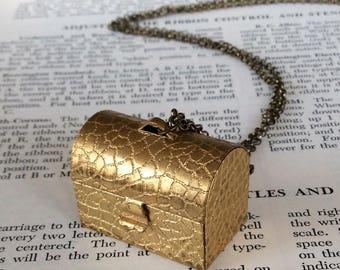 Croc Pill Box Locket Necklace