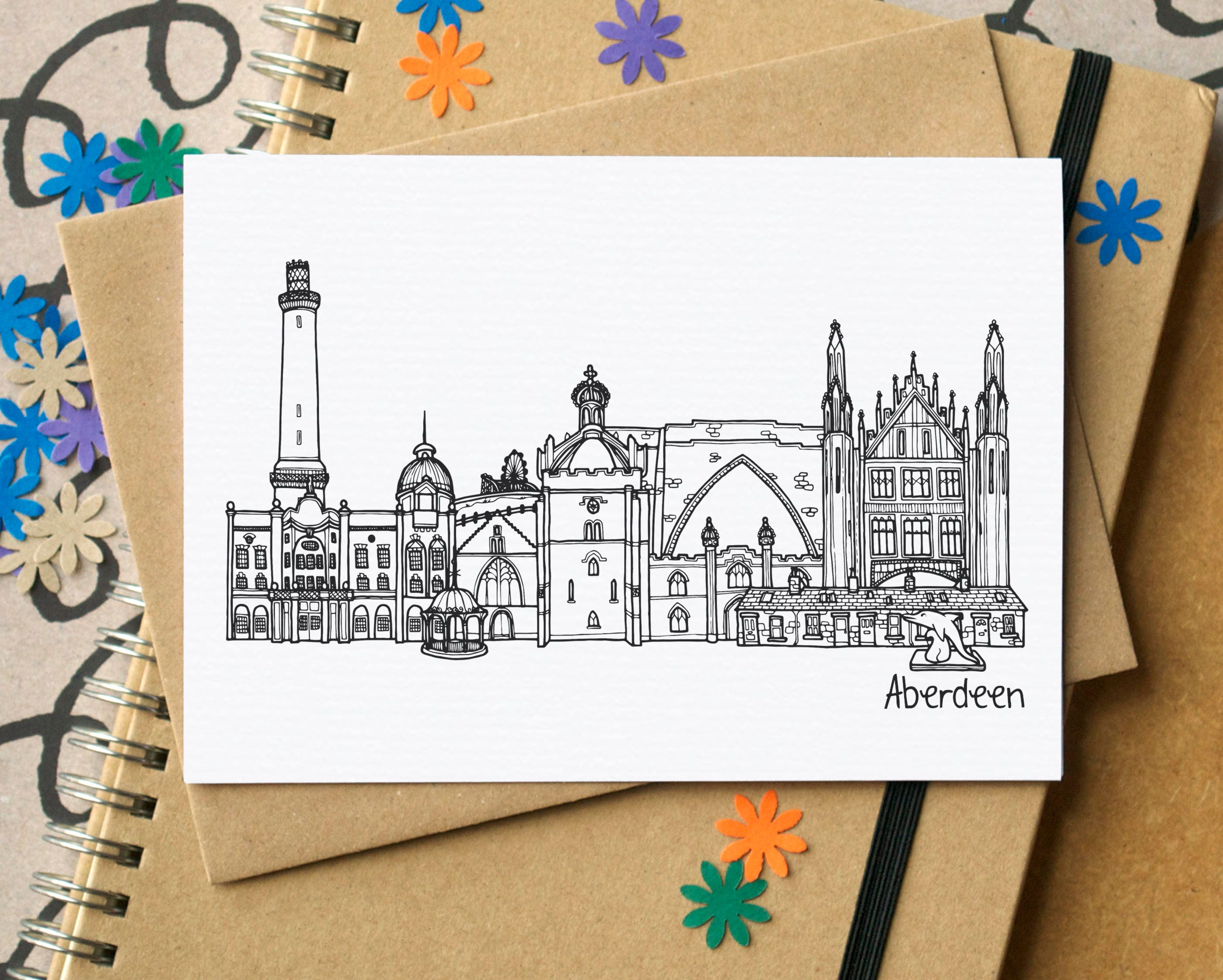 aberdeen landmarks greetings card aberdeen skyline art