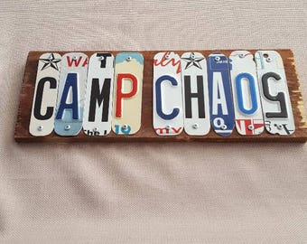 Camp Chaos - License Plate Art