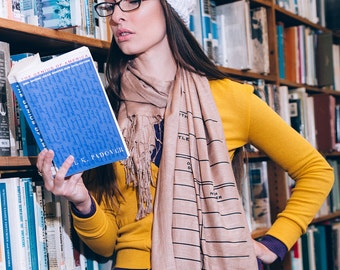 Book Scarf. Library Date Due Scarf. Linen weave pashmina. Black silkscreen print on camel tan scarf & more. Writer, librarian, author gift.