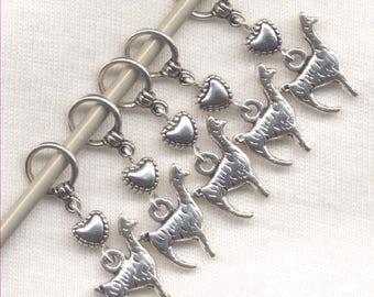 Llama knitting Stitch Markers Alpaca Flock of Llamas Set of 5/SM193A