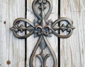 Cross, wall cross, rustic cross, cast iron cross, wall decor, Fleur De Lis, ornate cross, iron wall cross, iron anniversary, cross wall