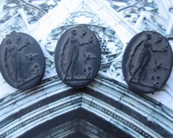 Vintage W. German Roman Goddess Diana Cabs Matte Black Glass 25x18mm 2Pcs.