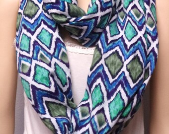 IKAT Print Infinity Scarf  With Colors of Purples-Blues-Greens gift ideas