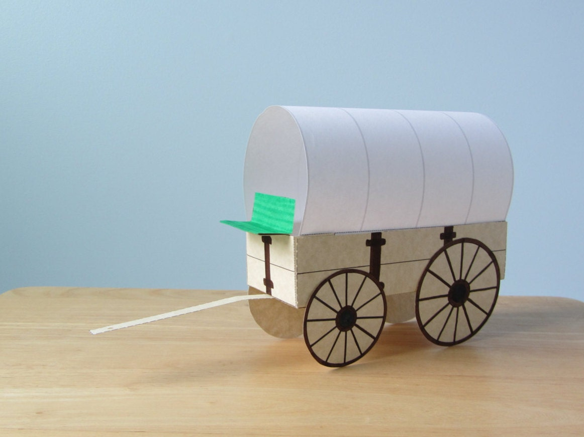 3D Covered Wagon: Instant Download Template