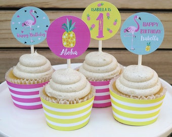 Flamingo Pineapple Cupcake Toppers, Luau, Printable Pdf File, Personalized