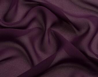 0069 Purple Chiffon Fabric, Soft Chiffon fabric, Fabric by the meter bridal dress,chiffon garment, chiffon fabric skirt-1/meter
