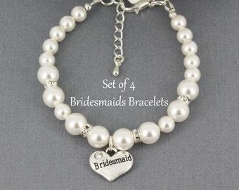 Set of 4 Bridesmaid Bracelet Swarovski Pearl Bracelet Bridal Party Jewelry Bridesmaid Gift Swarovski Bracelet Jewelry Gift for Her