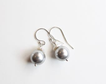 Platinum Pearl Earrings, White Keishi Pearls, Sterling Silver, Ready to Ship