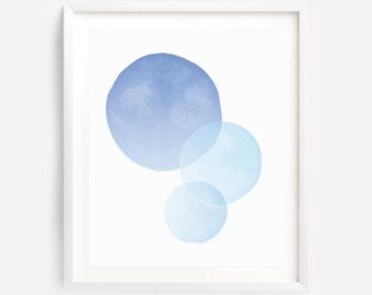 Circle Art Print, Blue Printable Art, Circle Wall Art, Blue Nursery Print, Blue Watercolor Art, Pastel Art, Circles, Abstract Art, Download