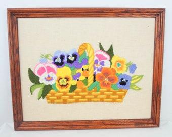 1973 Pauline Denham Embroidery Pansies Basket Framed Complete Decor
