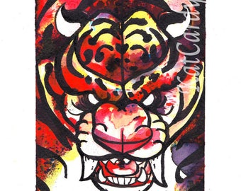 Tiger Rage - Original  Watercolour & ink Drawing/Painting